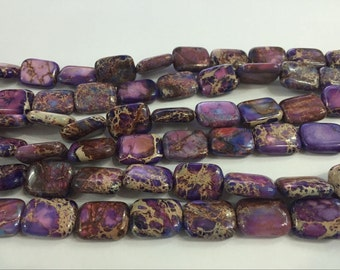 Sea Sediment Jasper Genuine Natural 10x14mm Rectangle Purple  - 4554 - 15''L 38cm Loose Beads Semiprecious Gemstone Bead   Supply