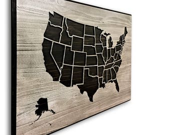 United States Map Art, Map of USA, American Map, Detailed, Carved, 3D Art, Wood Wall Art, State Lines, States, Push Pin Map, Mark Travels