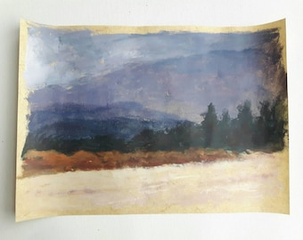 Acrylic landscape, acrylic on paper, original landscape painting, purple landscape, original acrylic painting, cloud painting, painting