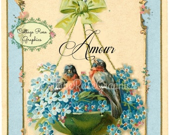 French AMOUR  blue birds in a basket  vintage shabby cottage Large digital download ECS buy 3 get one free perfect for VALENTINES day