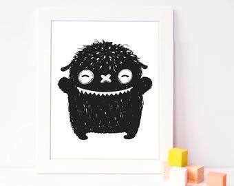 nursery wall poster - silly monster art - cute monster print - black and white kids room art - monster kids decor - baby art - printable