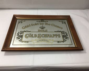 """Vintage Bols Gold Schnapps Gold Sold by the Ounce Man Cave Bar Beer Mirror Sign - Wood Frame 20 1/4"""" X 14 1/4"""""""