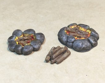 2 campfires and 1 woodpile custom made and painted tabletop gaming scatter terrain D&D Dungeons and Dragons Warhammer Shadespire Pathfinder