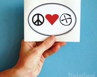 peace love geocache bumper sticker