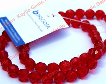 1 Strand Preciosa Czech Glass Beads Fire Polished 8mm Faceted Rounds - Ruby
