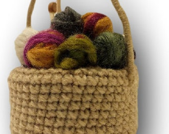 Cute Mini Yarn Basket with tiny Needles Knitted Ornament, Basket of Skeins, Knitting Basket