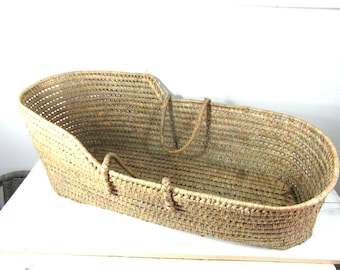 Wicker baby moses basket, grass basket with handles, baby crib, French vintage, French country decor, mid century, farmhouse decor.