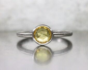 Yellow Rose-Cut Sapphire Engagement Ring Minimalistic Urban Palladium Gray Lemon Color Unique Bridal Band Romantic - Industrial Sunshine
