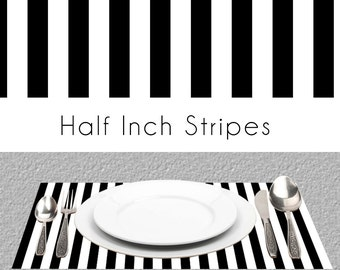 """Half Inch Black And White Stripes Paper Placemats, Book of 25 Card Stock Sheets 