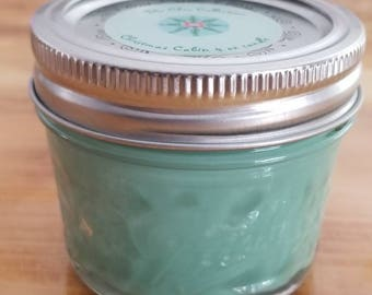 4oz Mason Jar Candle/Christmas Scented/Christmas Cabin Scent/ Made In Small Batches/Handcrafted/ 100% All Natural Soy Wax Candle/Hand Poured