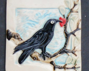 Raven, Hand Made Tile with A Red Heart