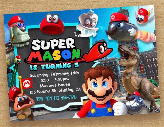 Super Mario Odyssey Einladung Super Mario Einladung Odyseey