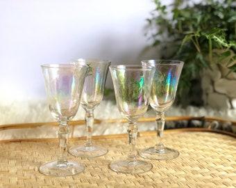 Vintage Iridescent Textured Wineglasses, Set of 4 Stemware