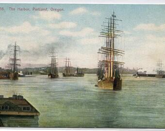 Sailing Ships Portland Harbor Oregon 1910c postcard