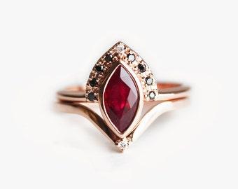 Ruby Engagement Ring, Ruby Wedding Set, Ruby Diamond Ring, Marquise Ruby Ring, Rose Gold Ruby Ring Set, Bridal Set, Black Diamond Set