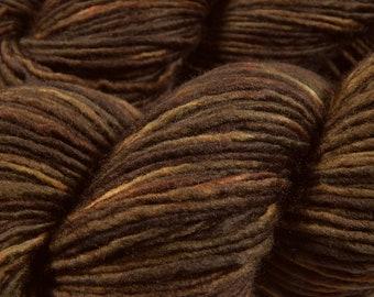 Hand Dyed Yarn, DK Weight Superwash Merino Wool Singles Yarn - Bark Tonal - Indie Dyed Knitting Yarn, Dark Brown Single Ply Yarn