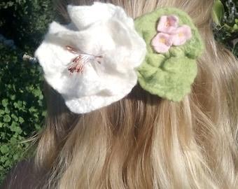Flower hair clip. Felting flower barrette gift for her