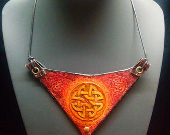 "Leather bib necklace-inspired Celtic, Plum, and yellow 100% handmade, ""Morgan"""