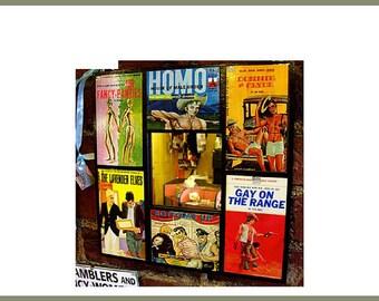 Gay pulp mirror retro vintage beefcake pin up paperback art pulp fiction wall decor kitsch