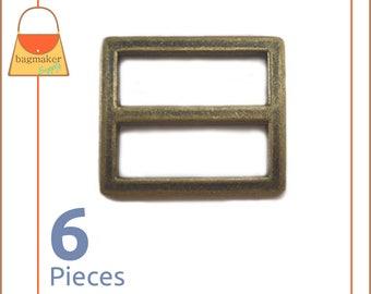 "1 Inch Center Bar Slide Purse Strap Slider Buckle, Antique Brass / Bronze Finish, 6 Pack, 1"", Handbag Bag Hardware Supplies, BKS-AA054"