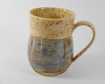 Large coffee mug  - ceramic mug - blue coffee mug - pottery mug M120
