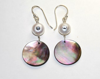Abalone and Pearl Earrings - Shell Earrings - White Pearl with Crystal - Beach Jewelry