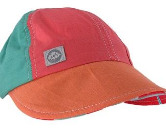 Xob Upcycled Cotton Bright Cabana style wide brim sun hat by Icebox Knitting