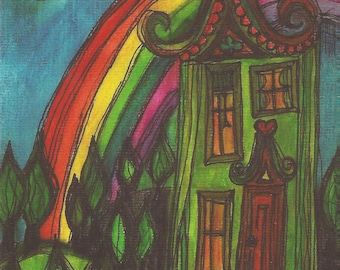 Rainbow House postcard from original illustration, art, self representing,snailmail, postcrossing, folk, greeting, card,friendship, penpal