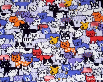 Kawaii Japanese Fabric - Cats & Dogs on Purple - Fat Quarter (ko170312)
