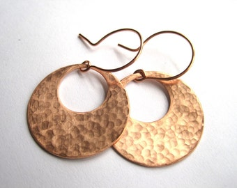 Hammered Copper Disks, Hand Forged Earrings, 7th Wedding Anniversary Gift, Gypsy Earrings