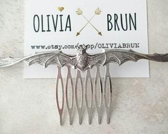 Large Bat Hair Comb Silver Bat Hair Comb Bat Hair Clip  Hair Accesories Halloween Hair Halloween Accessories