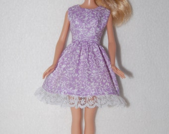Barbie doll dress  Light purple with lace hem  A4B042 READY To Ship