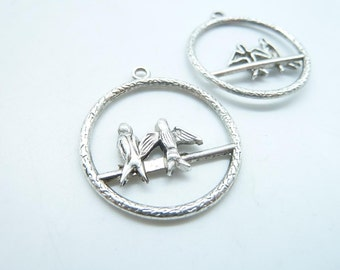 10pcs 27x33mm Antique Silver  Two Swallow Bird In Cage  Charm Pendant C5029