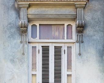 Havana Window Photo, Spanish Architecture Art, Cuba Photography, Pastel Wall Art, Gray Blue Wall Decor, Spanish Decor, Bedroom Art