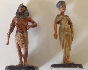King Tut and Queen Ankhessenamun from the 1980 Rose Collection. Egyptian Sculptures.