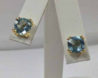 Natural Blue Topaz Stud Earrings 925 Sterling Silver Gold Plated