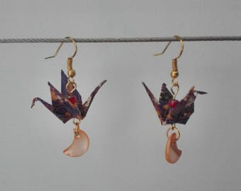 Crane and star earrings mother of Pearl