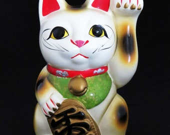 "Vintage Japanese Maneki Neko Left Hand Up Lucky Cat Money Bank or Lucky Cat - Fortune Cat Coin Bank from ceramic Porcelain /  7.5"" Tall"