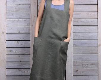 Cross back apron / Work dress / Japanese style apron / sage