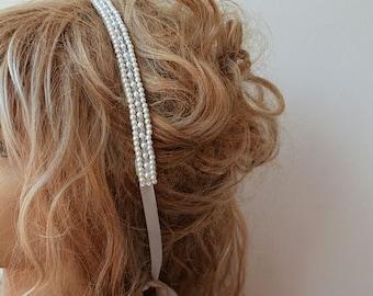 Pearl Headband, Wedding Pearl Headband, Bridal Pearl Headband,  Bridal Hair Accessory, Pearl and Crystal Headband, Vintage Style