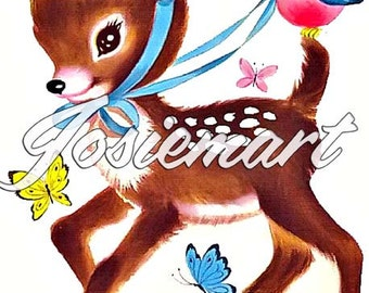 Vintage Digital Download Birthday Deer Vintage Image Collage Large JPG