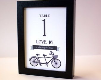 Tandem Bike Table Numbers Wedding Bridal Printable DIY Digital File PDF Bicycle Set 30 Instant Download Other Colors by Request