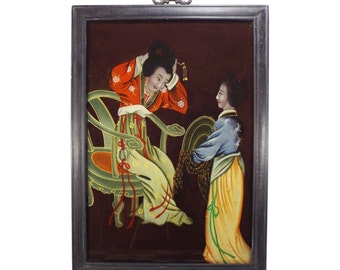 Ancient Chinese Painting Reverse on Glass 19th-20th century - D25L