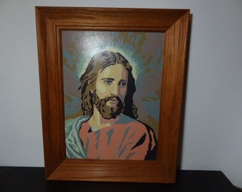 Vintage Large Oak Framed Paint By Numbers Jesus Painting - Mod/Kitsch/Mid Century Modern Decor