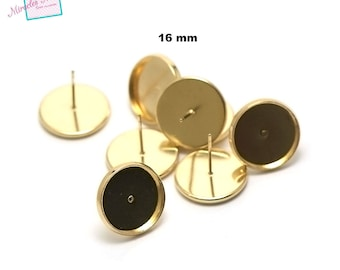 10 blank cabochon chip earrings 16 mm, gold