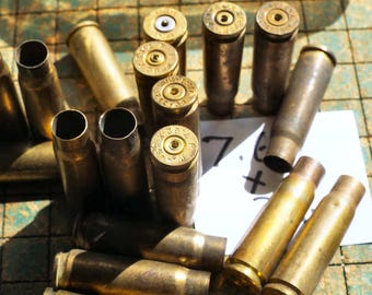 Brass 7.62x39 Bullet shell casings, Drilled, rifle, 10 count, jewelry supply, spent ammo, steampunk, assemblage, found art jewelry