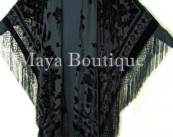 Caftan Duster Fringe Jacket Kimono Opera Coat Black Burnout Velvet Maya Matazaro