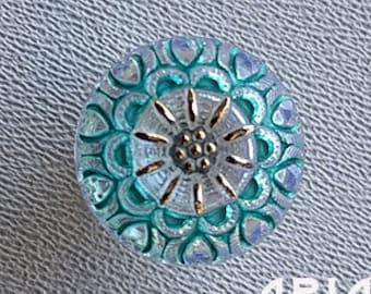 CZECH GLASS BUTTON: 18mm Nouveau Crown Handpainted Czech Glass Button, Pendant, Cabochon (1)