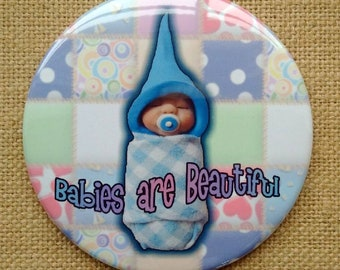 Big Fridge Magnet, 3.5-Inch Magnet, Cute Sculpted Baby, Polymer Clay, BABIES are BEAUTIFUL, Baby Shower Favor, Midwife, Doula Gift