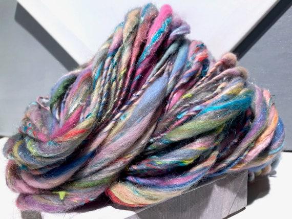 "Pastel scrap yarn, bulky, thick and thin, super texture, mixed fiber Handspun , MTO, ""Pastel Sky"" handspun yarn"
